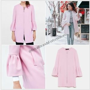 ZARA WOMAN Light Pink Zip Ruffle Sleeve Coat